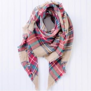 Accessories - Soft Oversized Plaid Blanket Scarf Wrap